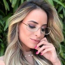 Vintage transparente olho de gato óculos de cristal quadro para mulher retro metal meia moldura óculos quadrados uv400 oculos de grau feminino