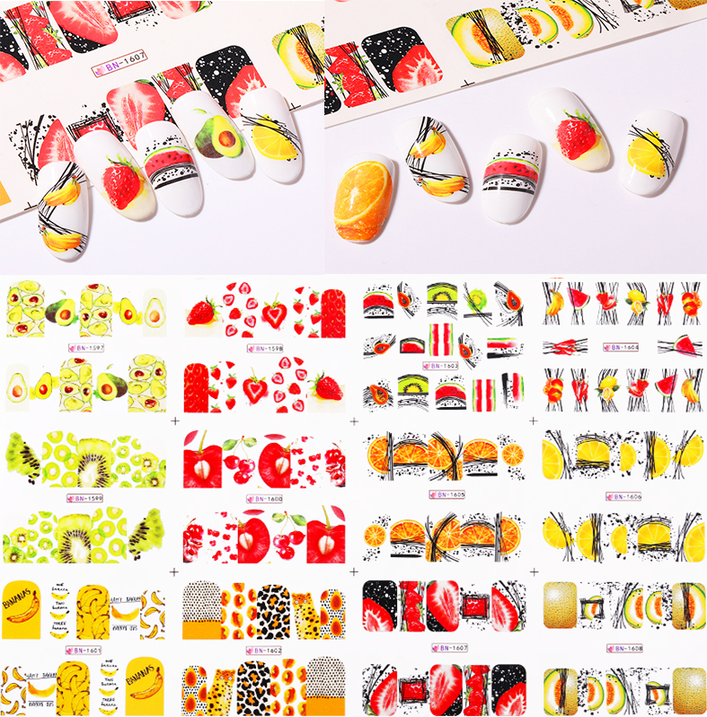 12 Pcs Of Colorful Fruit Pattern Nail Water Decals Summer Style  Nail Sticker DIY Nail Art Decorations