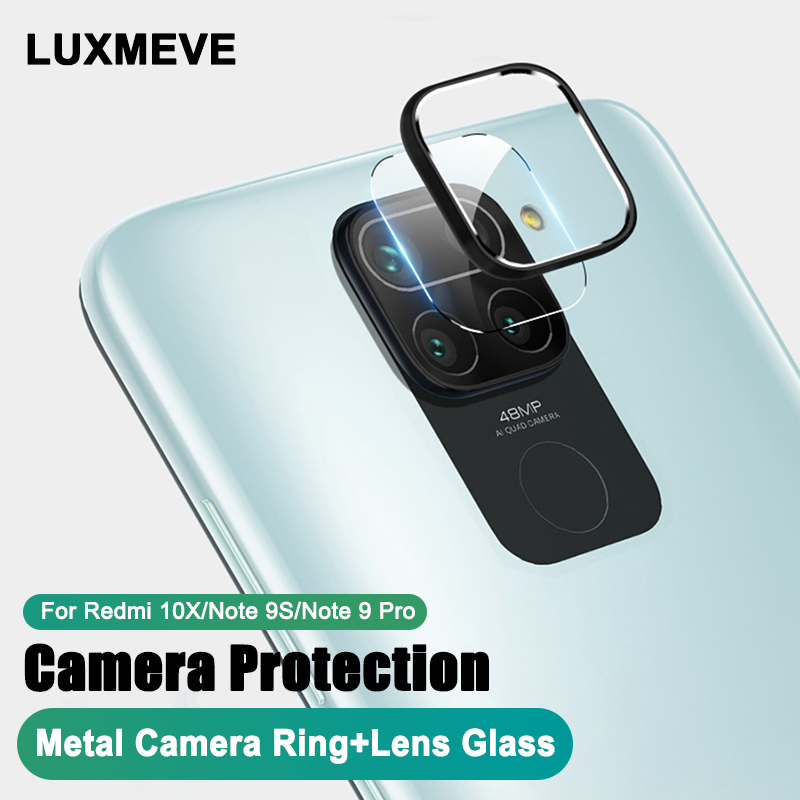 Camera Metal Ring + Tempered Glass For Xiaomi Redmi 10X Note 9 Pro 9S Camera Lens Protector For Redmi Note 9S 9 Pro Max 10X Film(China)