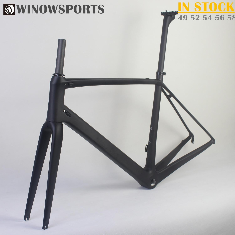 WINOWSPORTS 2018 Ultralight Carbon Road Bike Frame Wheelset T800 Carbon Road Bicycle Frameset 48 51 54cm