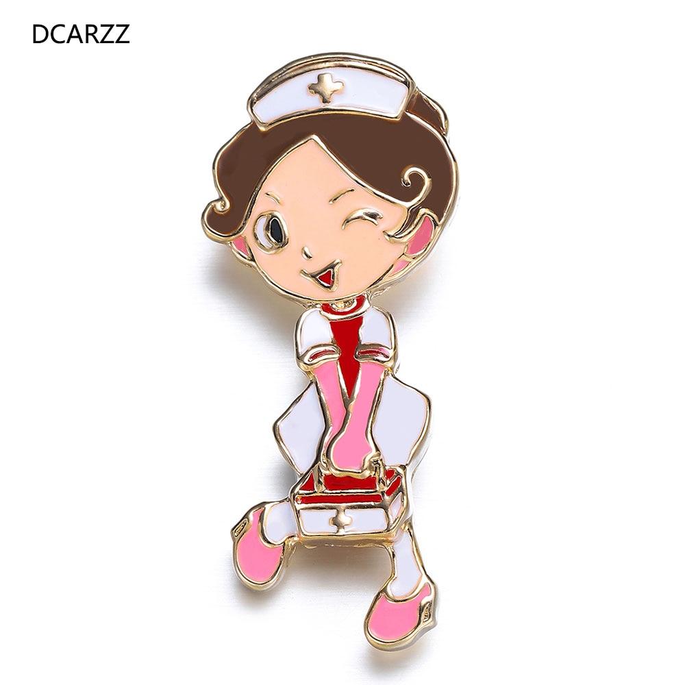 DCARZZ Best Nurse Brooch Medical Fashion Jewellery Gold Gift Women Cute Enamel Cartoon Lapel Pin Metal Doctors Pins Accessories