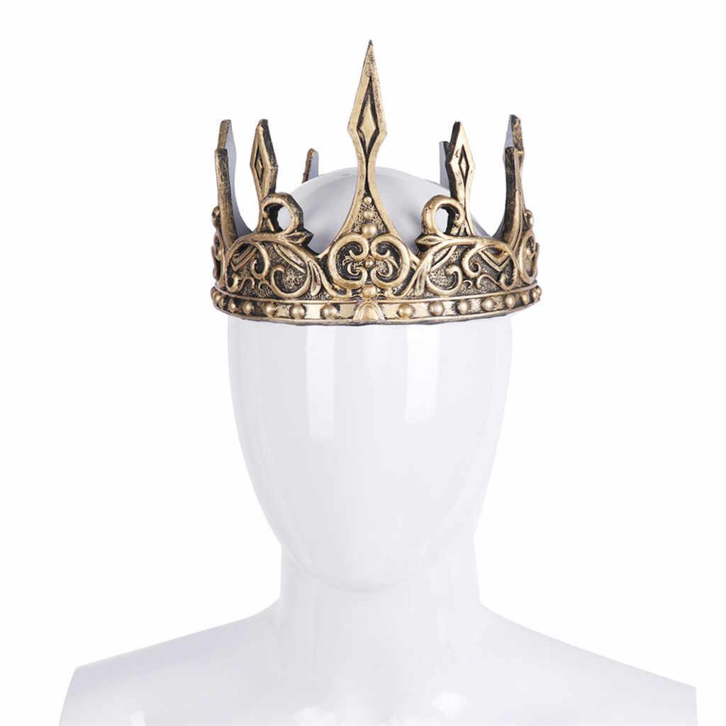 ユニセックスフルサークルクラウンインペリアル衣装ヘアアクセサリーゴールドキングクラウンパーティー女性のためのティアラ 2019 新