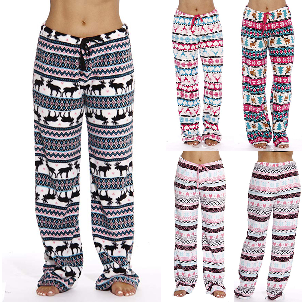Women Men Unisex Christmas Lounge Pajama Pants Soft Animal Printed Loose Sleep Bottoms Trousers Xmas Deer Print