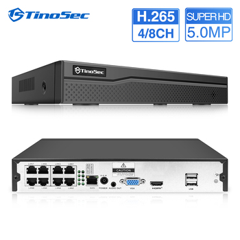 TinoSec 4CH 8CH Full HD 5MP 2MP PoE NVR All-in-one Network Video Recorder for PoE IP Cameras P2P CCTV System APP Remote