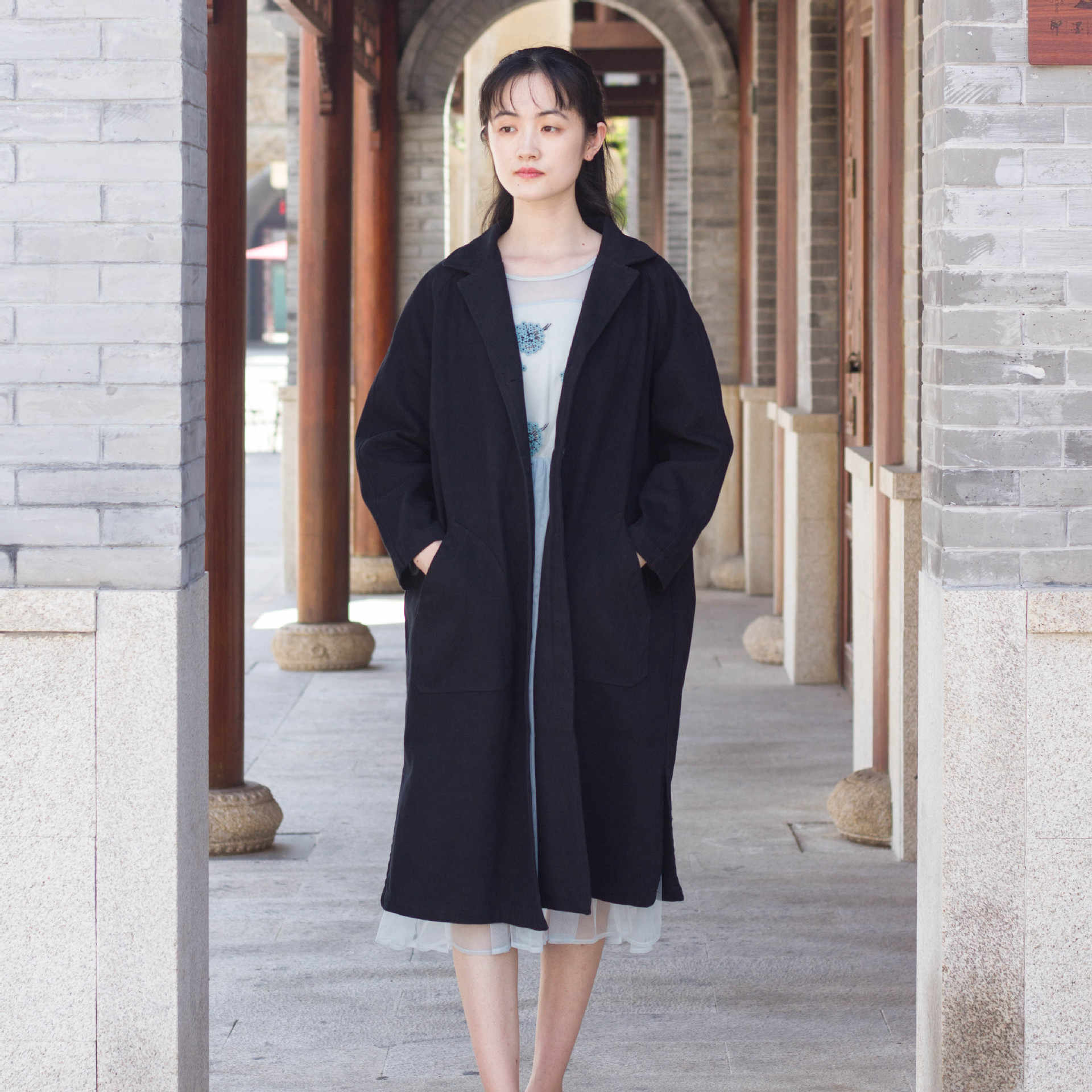 Nouveau Style Trench Coat Femmes Mi Long 2019 Automne Couleur Unie Col Rabattu Manteau Mode Grande Taille Style Coréen Coupe Ample