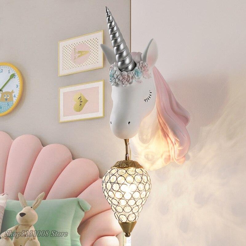 Скандинавский простой милый светодиодный настенный светильник в виде единорога, прикроватная лампа для спальни, розовое креативное бра дл