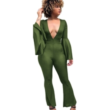 LOOZYKIT Women Autumn V-Neck Jumpsuit Skinny Bodysuit Casual Wide Leg Jumpsuits Sexy Club Rompers Flare Sleeve Vintage Playsuits levis 721 vintage high rise skinny