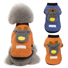 Cute Pet Autumn And Winter Coat Deer Designed Warm Cotton-padded Clothes Tops Shirt For  Dogs Puppy outfits