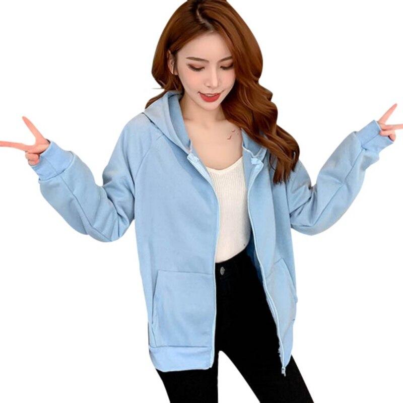 Spring Women Hoodie Coats Street Wear Casual Korean Zipper Pocket Female Hooded Sweatshirt Jackets Clothes Oversized Hoodie Hat
