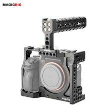 MAGICRIG carcasa de camara DSLR con asa superior para cámara Sony A7RIII /A7RII /A7SII /A7M3 /A7II /A7III, Kit de extensión de liberación rápida