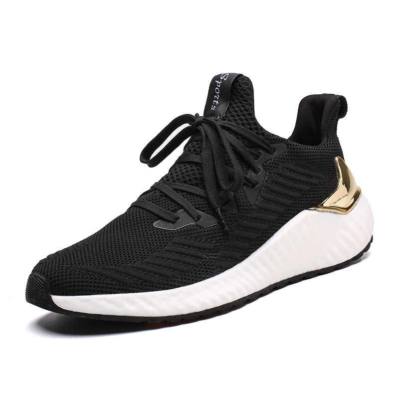New Design Black Breathable Flyknit Men Running Shoes Boost Sneakers Autumn Lightweight Non-slip Ultraboost Men Running Sneakers