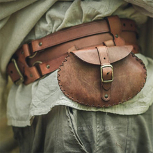 Medieval Cosplay Costume Men Renaissance Pouch Bag Waist Ring Belt Viking Pirate Bandage Bag PU Leather Retro Pockets Coin Purse