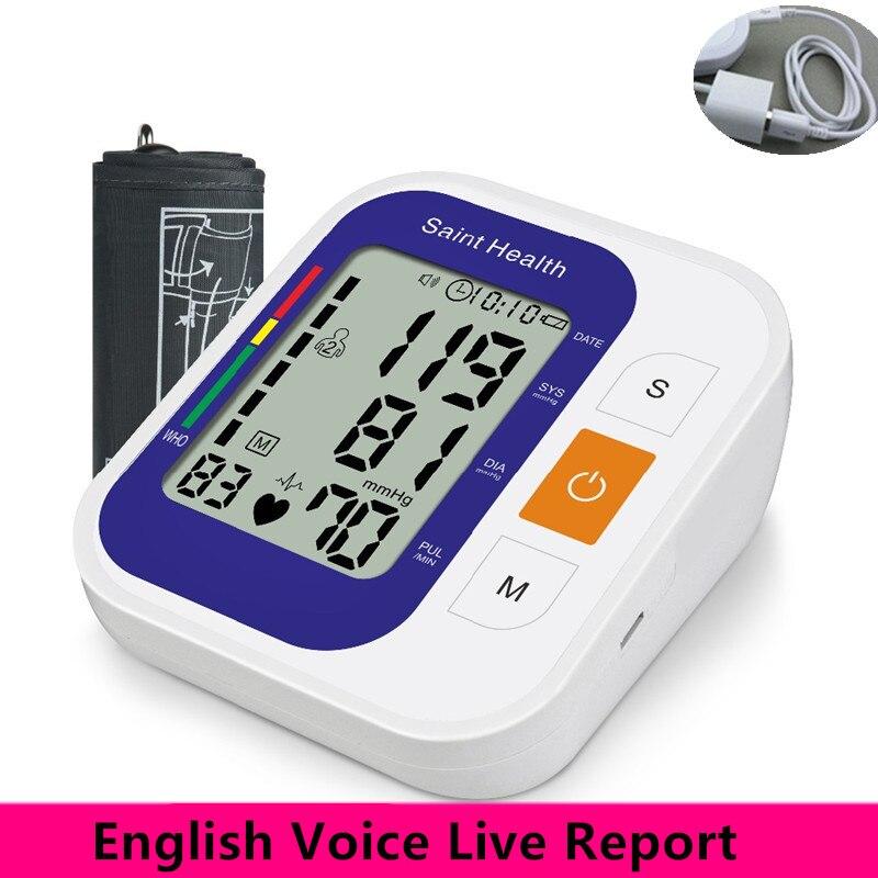 Englisch Sprach Digitale Arm Blutdruck Meter Automatische Tragbare Blutdruck Monitor Herz Rate Maschine blutdruckmessgerät