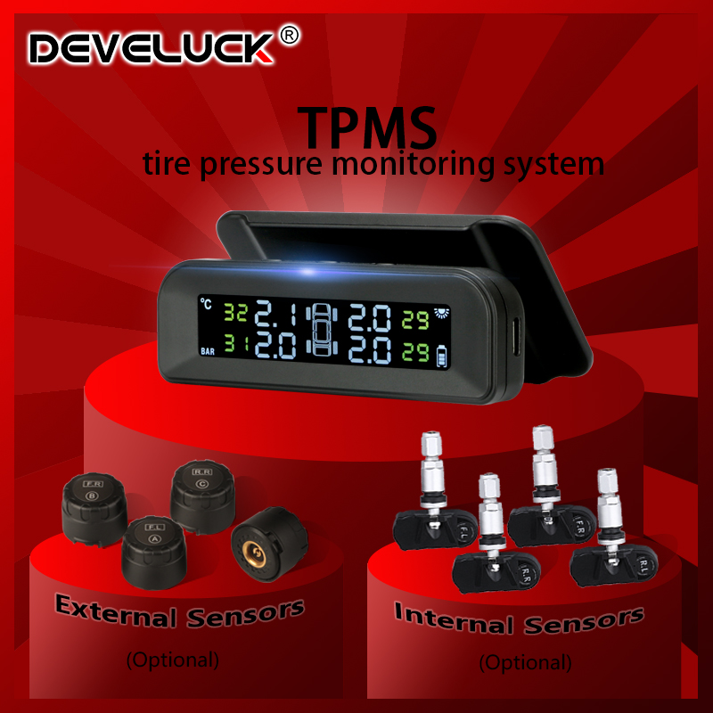 TPMS Car Tire Pressure Monitor System  Automatic Brightness Control Attached to glass wireless Solar power tpms with 4 sensors