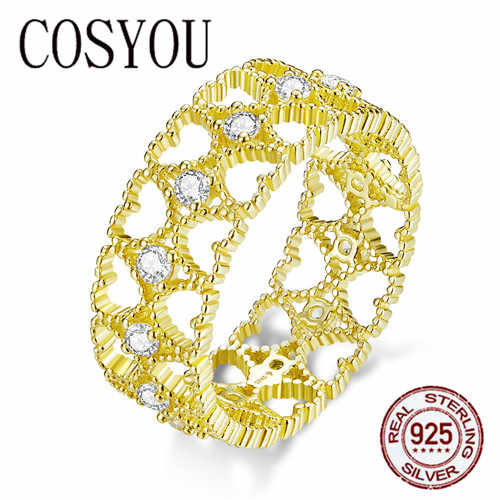 COSYOU 2019 Lace Pattern Wide Finger Rings for Women 925 Sterling Silver Gold Color Heart Stackable Ring Korean Jewelry BSR057