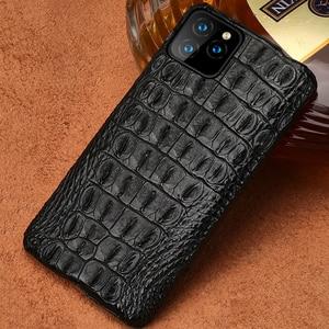 Image 1 - 악어 정품 가죽 케이스 아이폰 11 프로 맥스 오리지널 럭셔리 뒷면 커버 아이폰 12 케이스 12 프로 맥스 xr xs 맥스 fundas