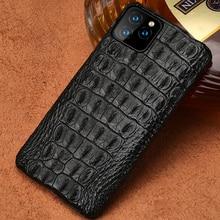 Crocodilo caso de couro genuíno para o iphone 11 pro max original de luxo capa traseira para o iphone 12 caso pro max xr xs max fundas