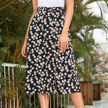 Split Skirts Button Floral-Printing Female Elegant Fashion Casual Women for Autumn Winter