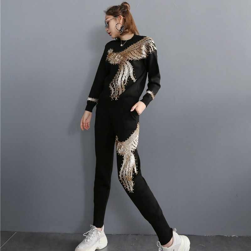 אירופאי פניקס רקמת פאייטים נשים Kintting סט 2 חתיכות ארוך שרוול O-צוואר בסוודרים Tees למעלה אלסטי מותניים ריצה מכנסיים