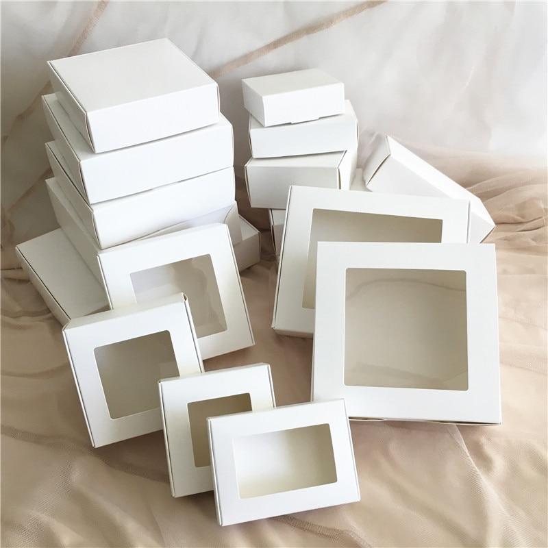 30 stücke DIY Weiß box mit fenster papier Geschenk box kuchen Verpackung Für Hochzeit home party muffin verpackung weihnachten geschenke
