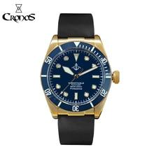 Cronos hruodland bronze mergulho relógio masculino pulseira de borracha mecânica cerâmica anel superior safira cristal livre pulseira de couro bgw9 azul