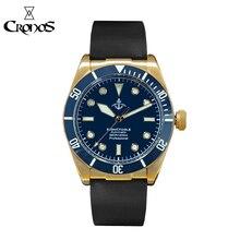 Cronos montre en caoutchouc mécanique pour hommes, anneau supérieur en céramique, cristal saphir, bracelet en cuir, plongée en Bronze, bleu, BGW9