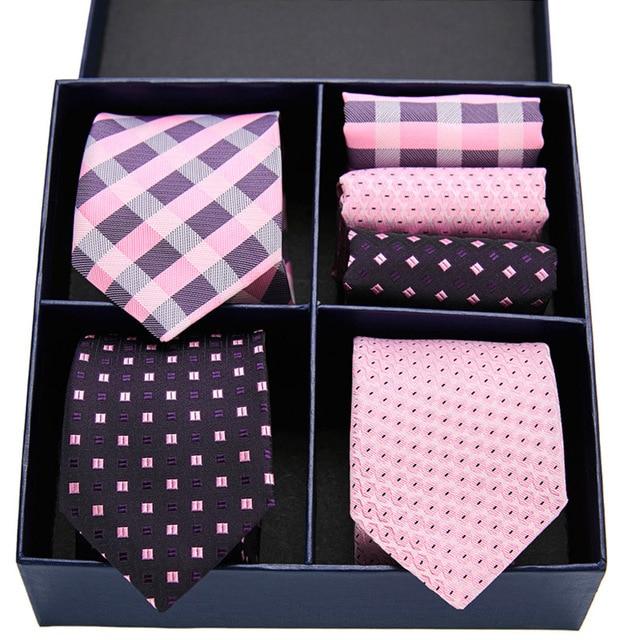 Men Ties Blue Gold Silk Mens Wedding  3 set Necktie Handkerchief Gift Box Set  Male Ties For Men Gift Gravat