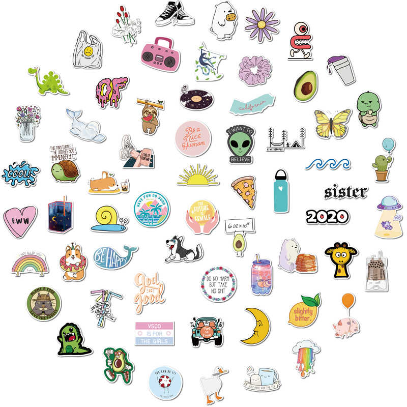 75pcs 100 Vinyl Cute Nature Vsco Girl Ins Stickers For Luggage Waterproof Aesthetic Stickers For Girls Toys For Laptop Phone Stickers Aliexpress