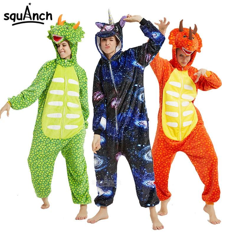 Unicorn Kigurumis Animal Zipper Onesies  Unisex Pajama Women Girl Home Jumpsuit Winter Warm Overalls Dinosaur Outfit Flannel