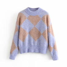 Casual Women O Neck Knitted Argyle Sweater Winter Cotton Warm Long Sleeve Pullov