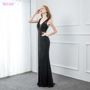 Image 3 - Sexy V Neck Black Beaded Evening Dresses 2019 Long Mermaid Backless Evening Gown Party Dress YQLNNE