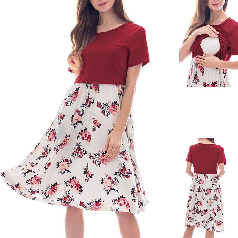 Solid Color And Floral Print Maternity Dresses Patchwork Breastfeeding Dress Summer Short Sleeve Nursing Pregnancy Dress