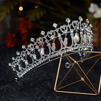 Baroque Crystal Pearl Bridal Tiaras Diana Crown Rhinestone Pageant Diadem Bride Headband Wedding Hair Accessories Tiara De Noiva