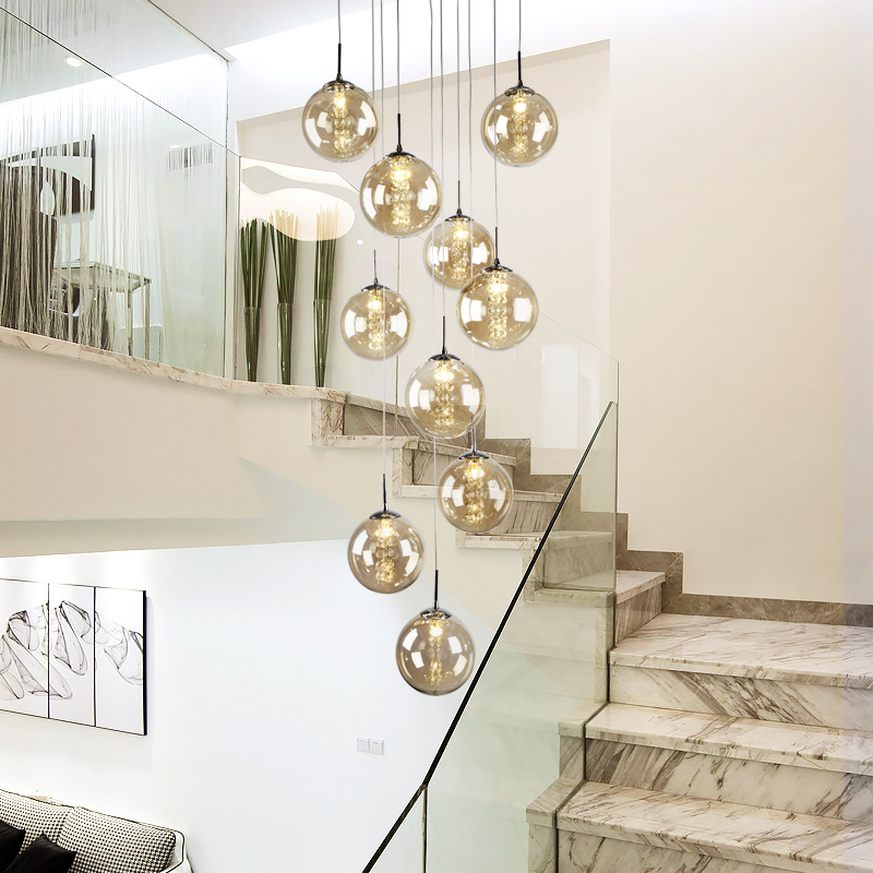 High Villa Entryway Orb Glass Stairs Hanging Spiral Long Lamps Modern Crystal Beads Staircase Chandelier For Home