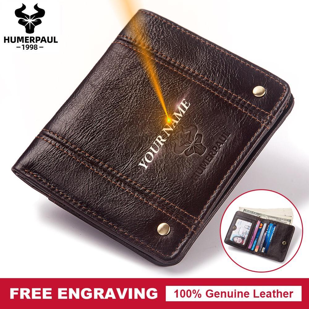 Free Engraving 100% Cow Genuine Leather Men Wallet Coin Purse Small Mini Card Holder Fashion PORTFOLIO Portomonee Hasp Male
