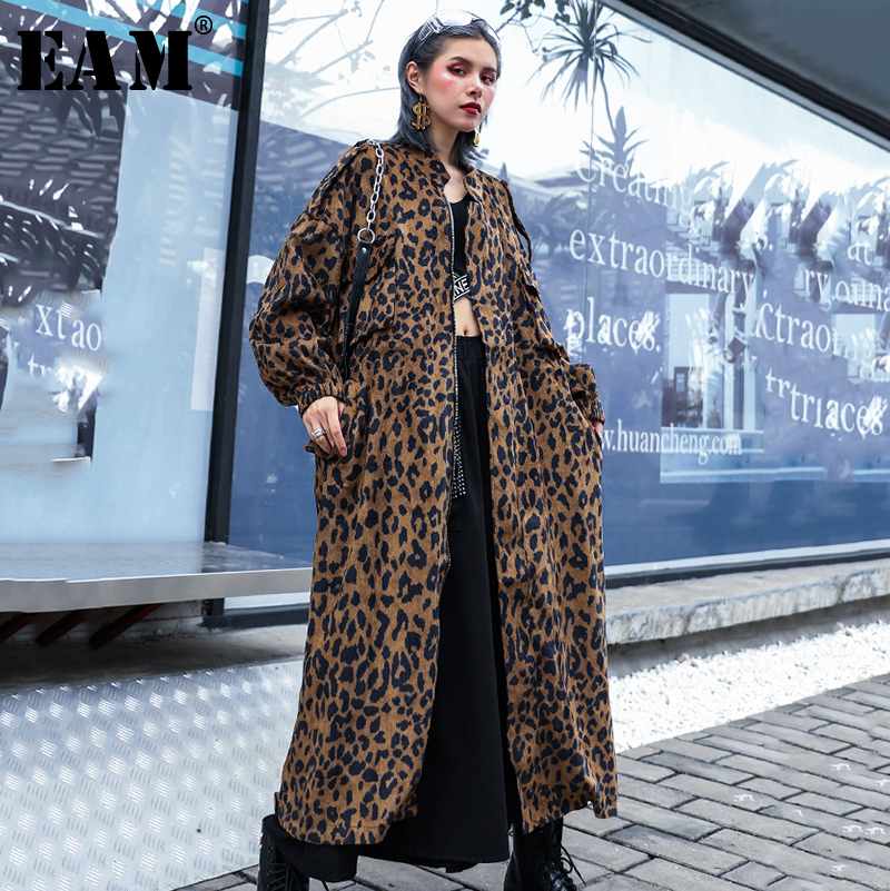 [EAM] Women Print Oversize Hit Color   Trench   New Stand Long Sleeve Loose Fit Windbreaker Fashion Tide Autumn Winter 2019 1B935