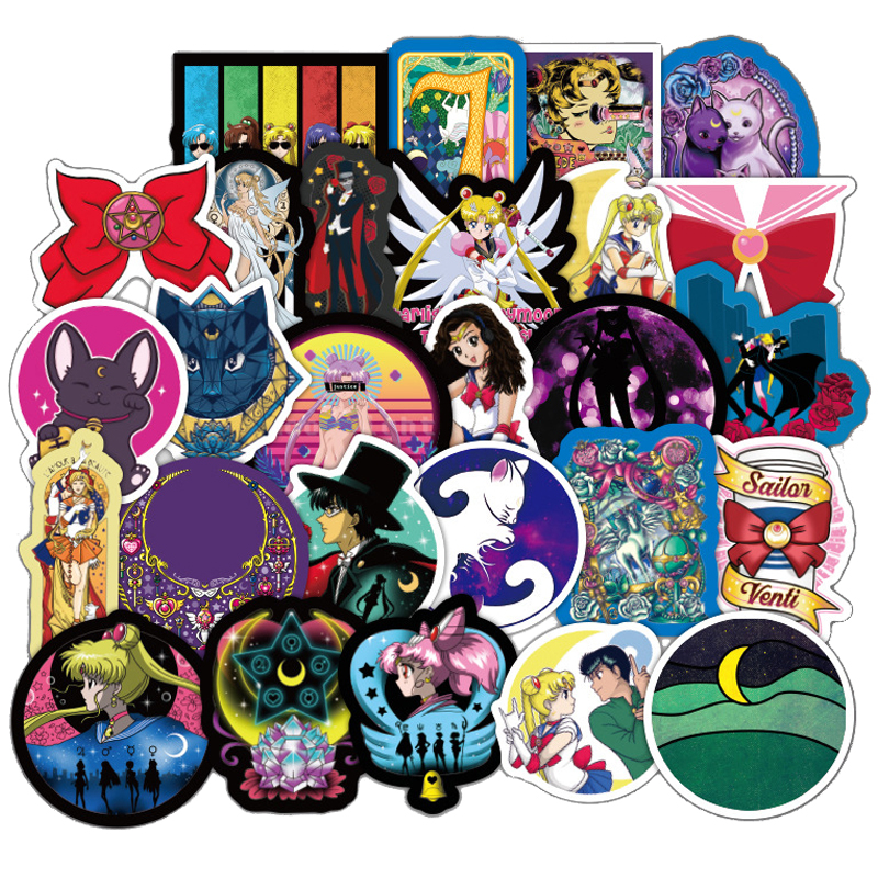 50PCS Japanese Classics Anime Sailor Moon Sticker For Laptop Skateboard Waterproof Stationery Sticker Scrapbook Craft Decor F3