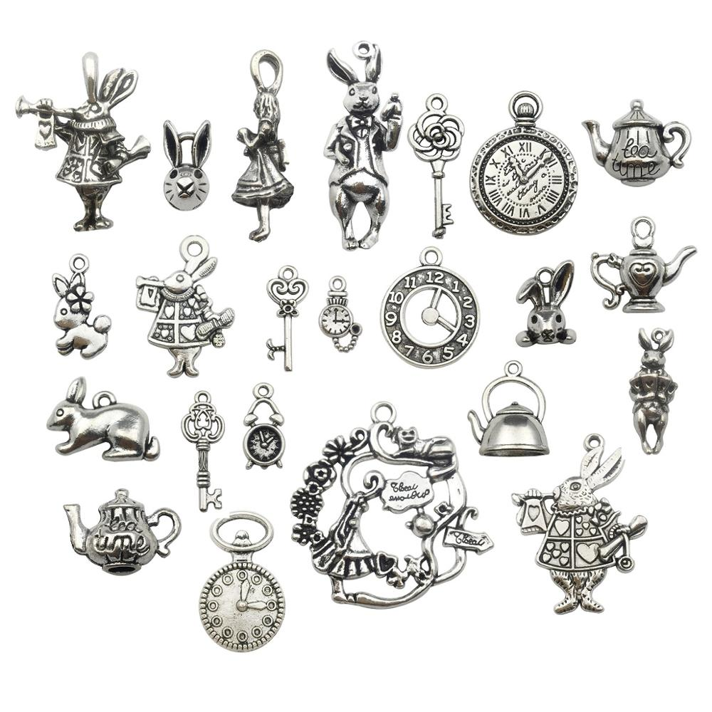 Alice Rabbit Charm//Pendant Tibetan Antique Silver 36mm  5 Charms DIY Jewellery