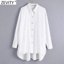 Zevity nuove donne moda bottoni con diamanti decorazione popeline bianco camicetta camicetta da ufficio camicie larghe da donna Chic Blusas top LS7408