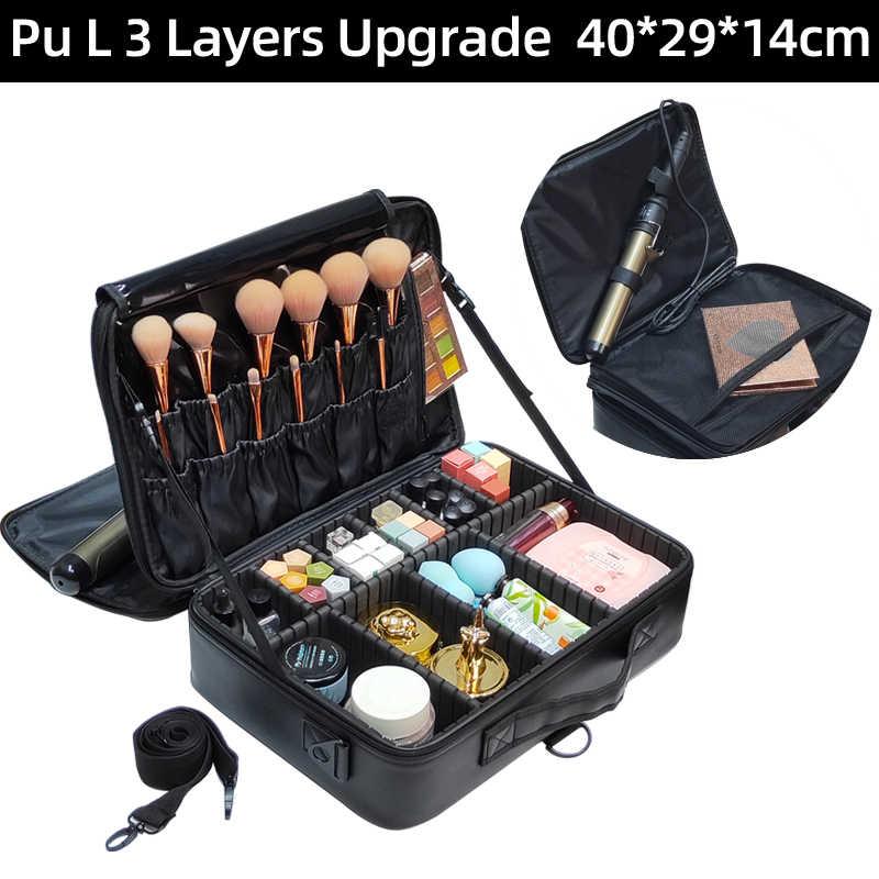 Yeni 2017 yüksek kalite profesyonel boş makyaj organizatör Bolso Mujer kozmetik durumda seyahat büyük kapasiteli saklama çantası bavul