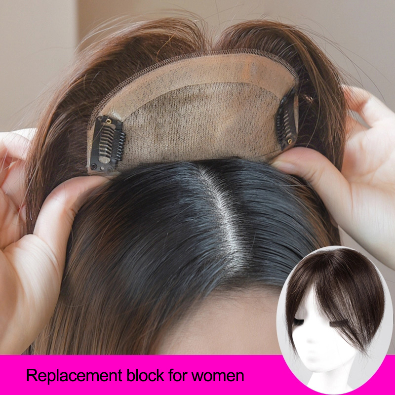 DIANQI Women Synthetic clip in Hairpieces With Middle Part Bangs Artificial-Material Straight Clipins Hair Handwoven Hairpiece