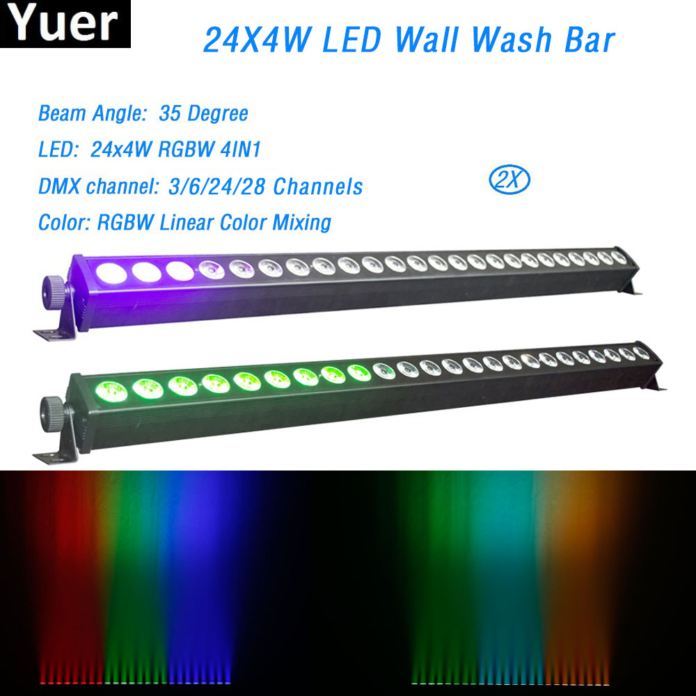 2Pcs/Lot 24X4W RGBW 4IN1 LED Wall Washer Bar Light DMX512 Control Led Wash Stage Light Music DJ Disco Party Wedding Show Light