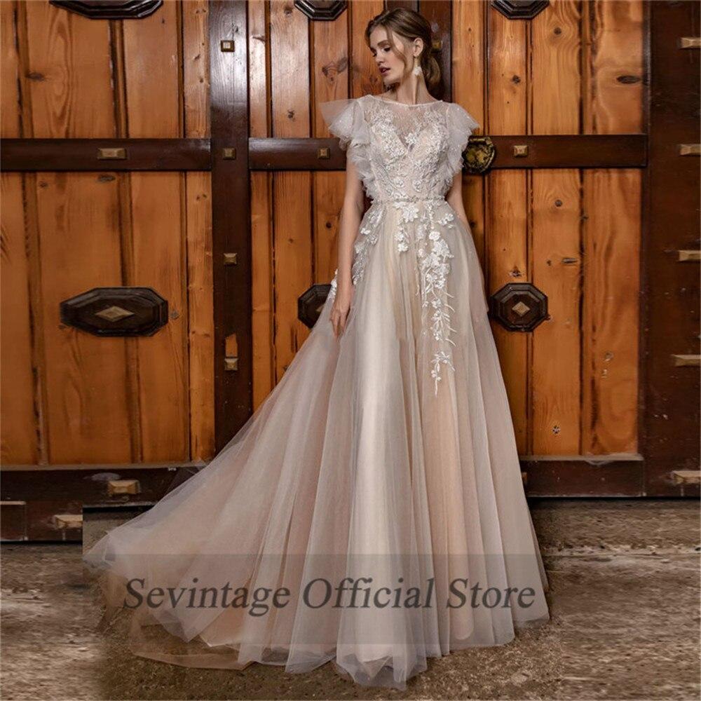 Sevintage A Line Boho Wedding Dresses Cap Sleeves Lace Appliqued Beach Bridal Gowns Custom Made Vestido De Noiva Princesa