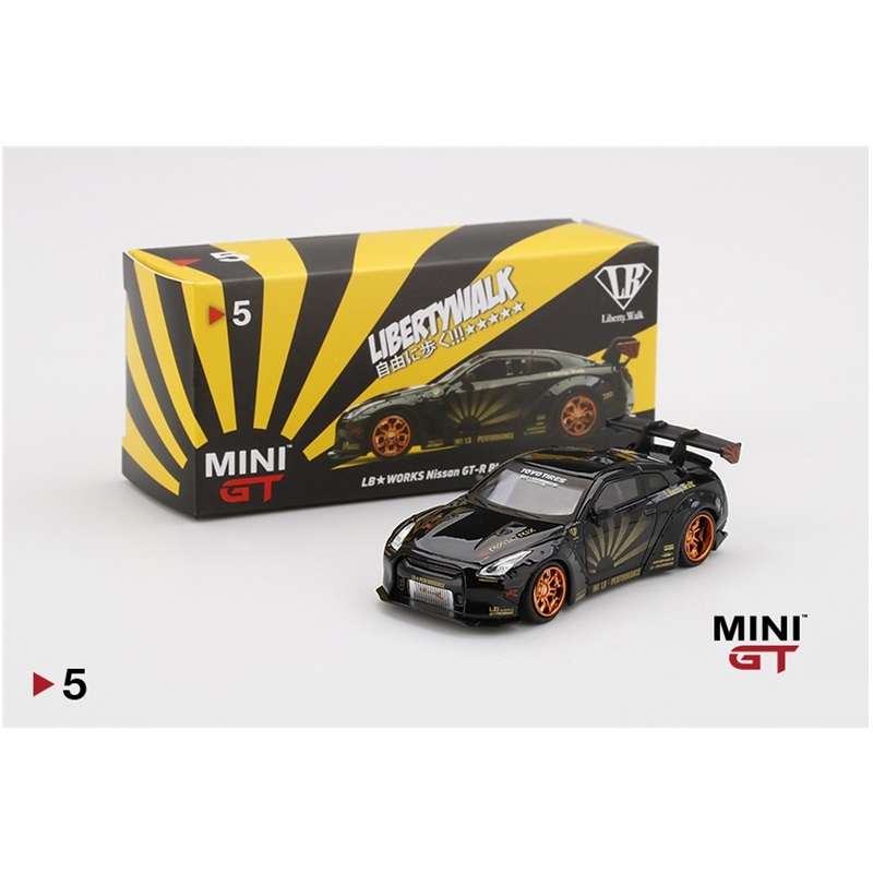 MINI GT 1:64 LB Works Nissan GT-R R35 Type 1 Rear Wing Ver 1+2 RHD Diecast Model Car