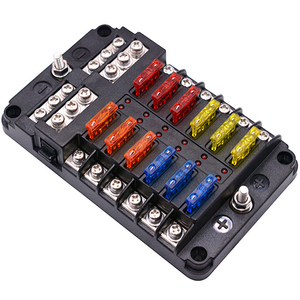 12V 32V Plastic Cover Fuse Box Holder M5 Stud With LED Indicator Light 6 Ways 12 Ways Blade for Auto Car Boat Marine Trike(China)