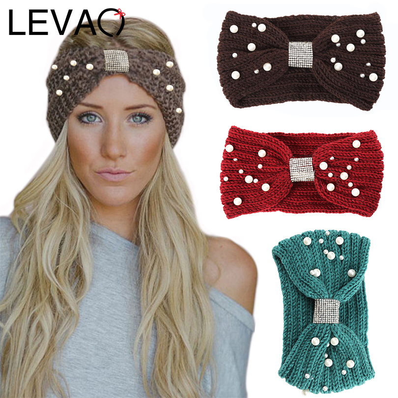 LEVAO Autumn And Winter Models Knitted Pearl Headband Rhinestone Knotted Wool Warm Turban Women Hairbands Girls Hair Accessories