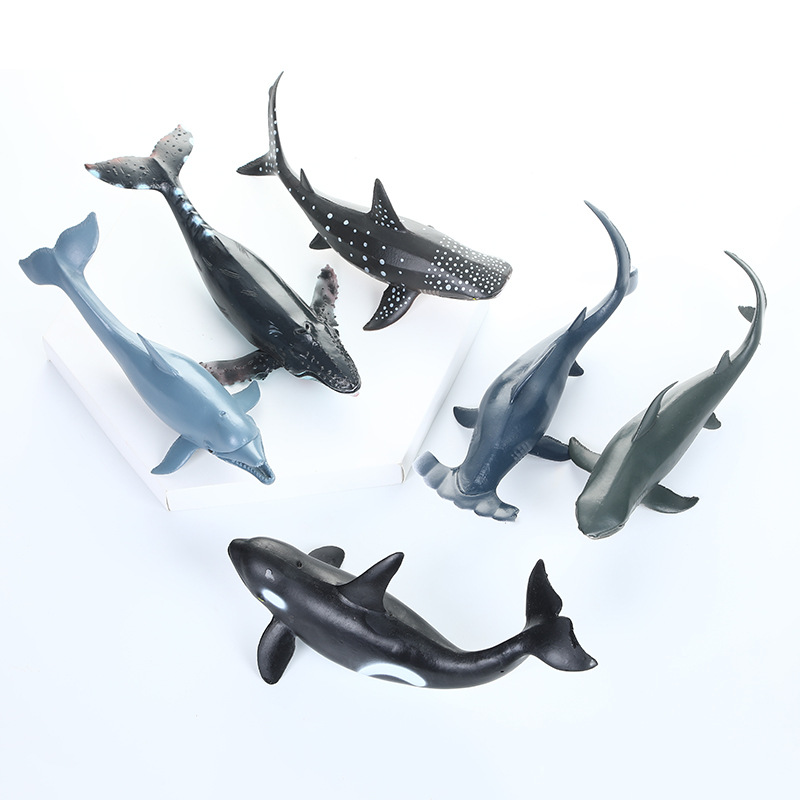 Creative New Style Model Soft Silcone Shark Model 6 Pieces Stall Hot Selling Children'S Educational Realistic Shark Toy