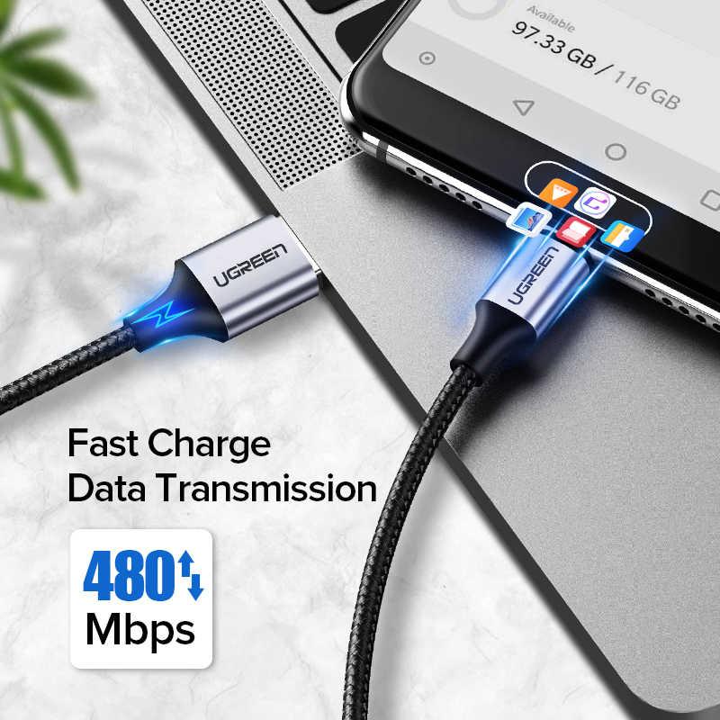 Ugreen USB نوع C كابل لسامسونج S10 S9 3A سريع USB شحن نوع-C شاحن كابل البيانات ل Redmi نوت 8 برو USB-C سلك كابو