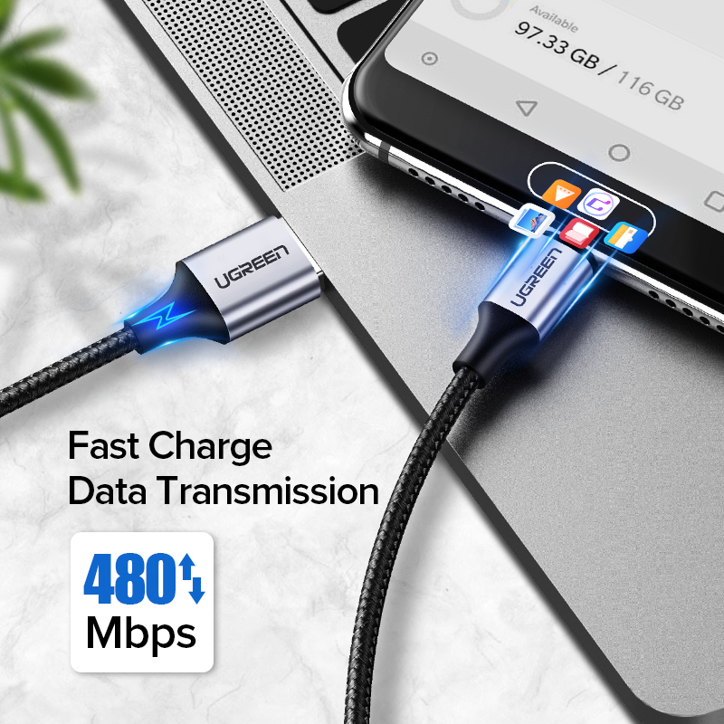 Ugreen USB Type C Cable for Samsung S9 S8 Fast Charge Type-C Mobile Phone Charging Wire USB C Cable for Xiaomi mi9 Redmi note 7 Pakistan