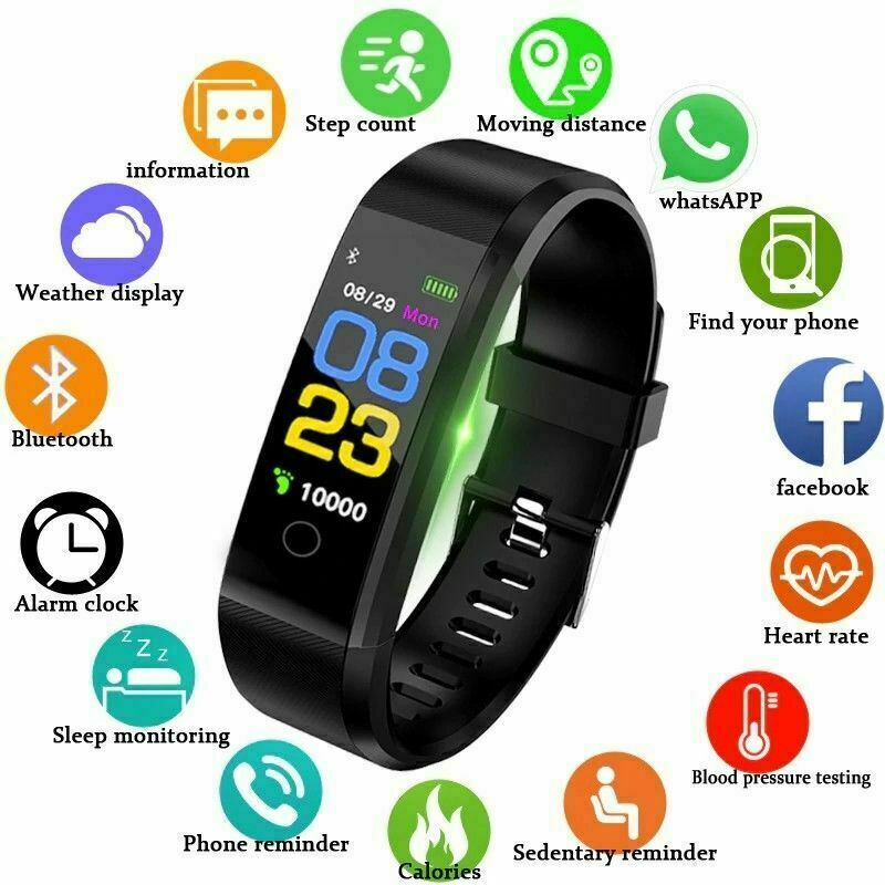 New 115 Plus Smart Wrist Watch Health Fitness Tracker Heart Rate Monitor Pedometer Yoho Sports Waterproof OLED Screen Wristband image